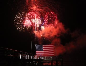 Red Fireworks above Flag_thumb.jpg