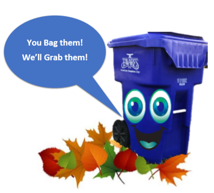 Image for Leaf pickup flyer 2019 that includes a garbage can with a face and leaves and saying You B