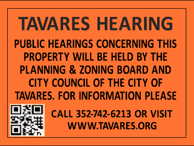 Tavares Notice of Public Hearing Sign Opens in new window